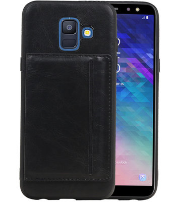 Staand Back Cover 1 Pasjes voor Galaxy A6 2018 Zwart