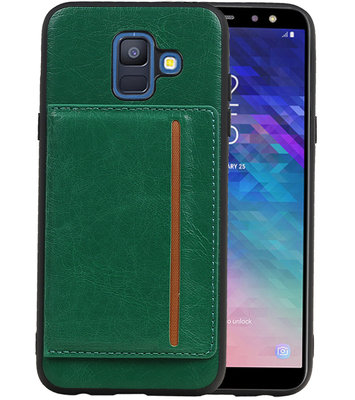 Staand Back Cover 1 Pasjes voor Galaxy A6 2018 Groen