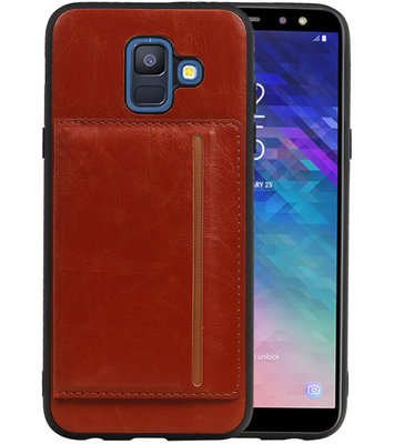 Staand Back Cover 1 Pasjes voor Galaxy A6 2018 Bruin