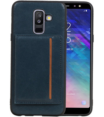 Staand Back Cover 1 Pasjes voor Galaxy A6 Plus 2018 Navy