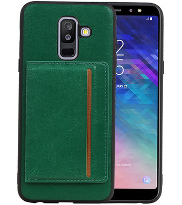 Staand Back Cover 1 Pasjes voor Galaxy A6 Plus 2018 Groen