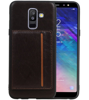 Staand Back Cover 1 Pasjes voor Galaxy A6 Plus 2018 Mocca