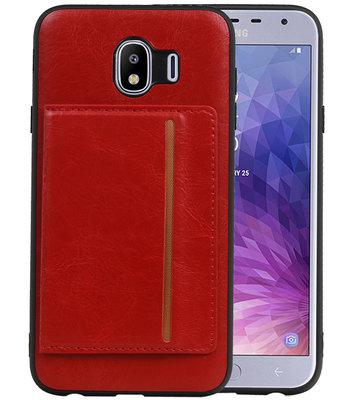 Staand Back Cover 1 Pasjes voor Galaxy J4 Rood