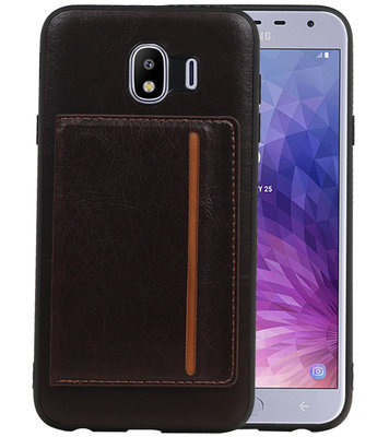 Staand Back Cover 1 Pasjes voor Galaxy J4 Mocca