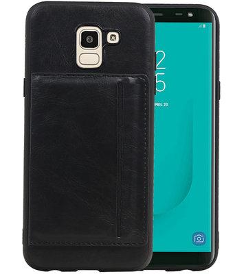 Staand Back Cover 1 Pasjes voor Galaxy J6 Zwart