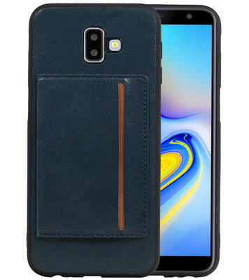 Staand Back Cover 1 Pasjes voor Galaxy J6 Plus Navy