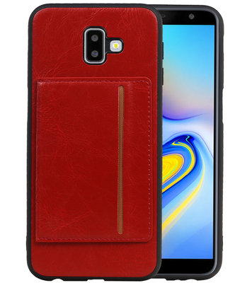 Staand Back Cover 1 Pasjes voor Galaxy J6 Plus Rood