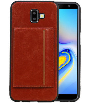 Staand Back Cover 1 Pasjes voor Galaxy J6 Plus Bruin