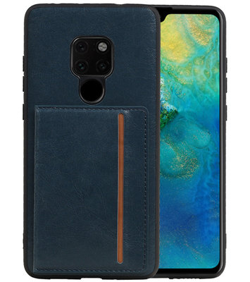 Staand Back Cover 1 Pasjes voor Huawei Mate 20 Navy