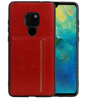 Staand Back Cover 1 Pasjes voor Huawei Mate 20 Rood