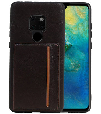 Staand Back Cover 1 Pasjes voor Huawei Mate 20 Mocca