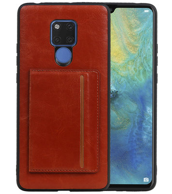 Staand Back Cover 1 Pasjes voor Huawei Mate 20 X Bruin