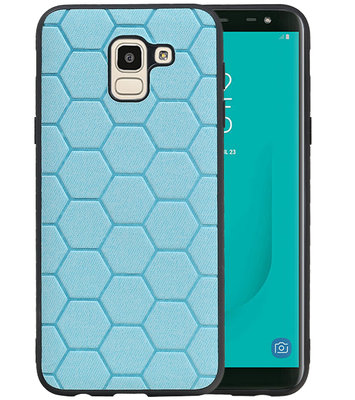 Hexagon Hard Case voor Samsung Galaxy J6 Blauw