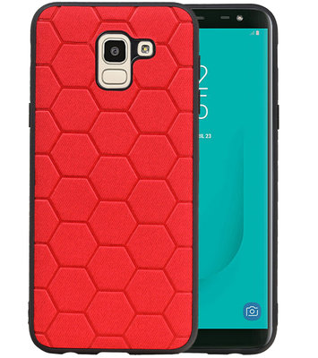 Hexagon Hard Case voor Samsung Galaxy J6 Rood