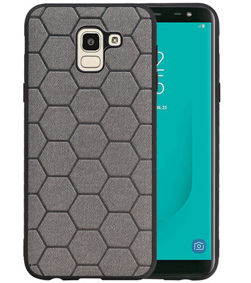 Hexagon Hard Case voor Samsung Galaxy J6 Grijs