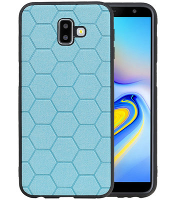 Hexagon Hard Case voor Samsung Galaxy J6 Plus Blauw