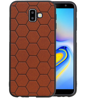 Hexagon Hard Case voor Samsung Galaxy J6 Plus Bruin