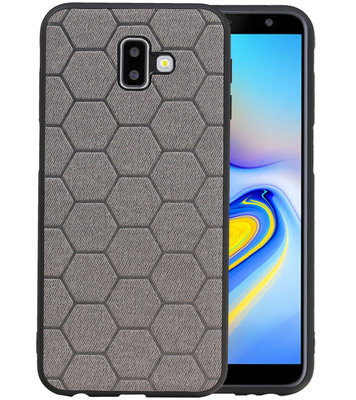 Hexagon Hard Case voor Samsung Galaxy J6 Plus Grijs