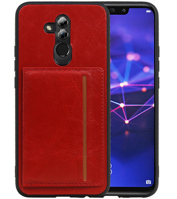 Staand Back Cover 1 Pasjes voor Huawei Mate 20 Lite Rood