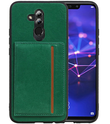 Staand Back Cover 1 Pasjes voor Huawei Mate 20 Lite Groen