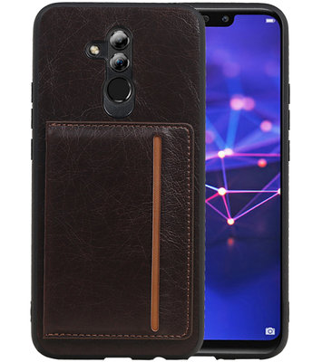 Staand Back Cover 1 Pasjes voor Huawei Mate 20 Lite Mocca