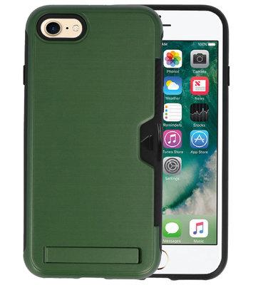 Donker Groen Tough Armor Kaarthouder Stand Hoesje voor iPhone 7 / 8