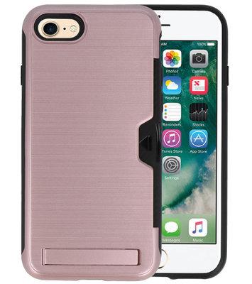 Roze Tough Armor Kaarthouder Stand Hoesje voor iPhone 7 / 8