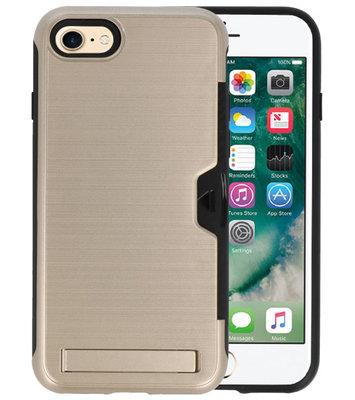 Goud Tough Armor Kaarthouder Stand Hoesje voor iPhone 7 / 8