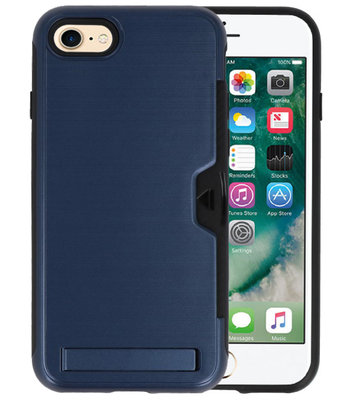Navy Tough Armor Kaarthouder Stand Hoesje voor iPhone 7 / 8