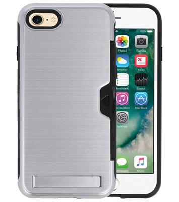 Zilver Tough Armor Kaarthouder Stand Hoesje voor iPhone 7 / 8