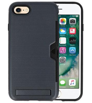 Zwart Tough Armor Kaarthouder Stand Hoesje voor iPhone 7 / 8