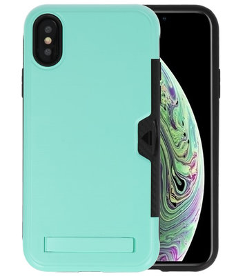 Turquoise Tough Armor Kaarthouder Stand Hoesje voor iPhone X / XS