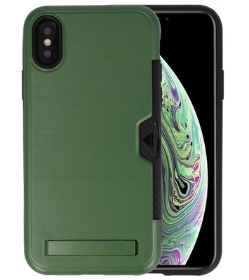 Donker Groen Tough Armor Kaarthouder Stand Hoesje voor iPhone X / XS
