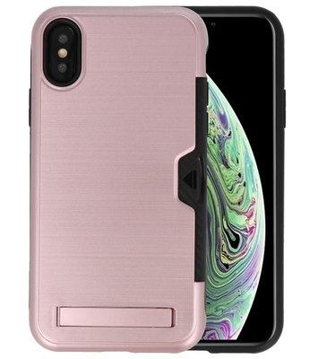Roze Tough Armor Kaarthouder Stand Hoesje voor iPhone X / XS