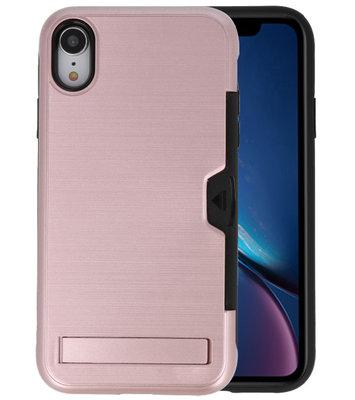 Roze Tough Armor Kaarthouder Stand Hoesje voor iPhone XR