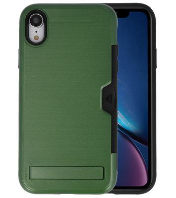 Donker Groen Tough Armor Kaarthouder Stand Hoesje voor iPhone XR