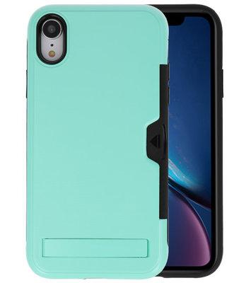 Turquoise Tough Armor Kaarthouder Stand Hoesje voor iPhone XR