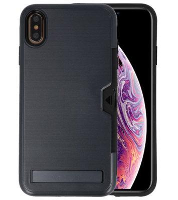 Zwart Tough Armor Kaarthouder Stand Hoesje voor iPhone XS Max
