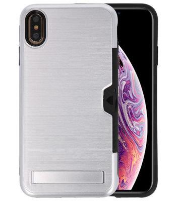 Zilver Tough Armor Kaarthouder Stand Hoesje voor iPhone XS Max