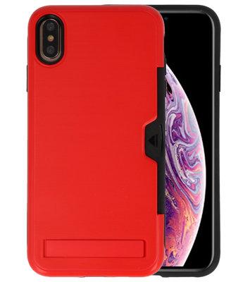 Rood Tough Armor Kaarthouder Stand Hoesje voor iPhone XS Max