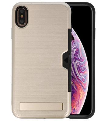 Goud Tough Armor Kaarthouder Stand Hoesje voor iPhone XS Max