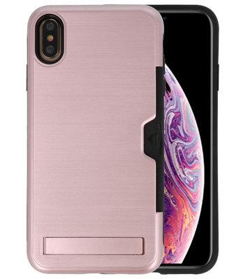 Roze Tough Armor Kaarthouder Stand Hoesje voor iPhone XS Max