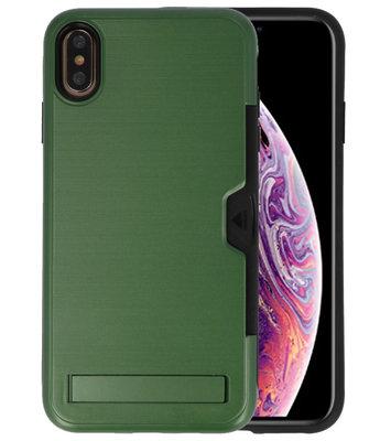Donker Groen Tough Armor Kaarthouder Stand Hoesje voor iPhone XS Max
