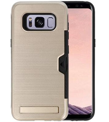 Goud Tough Armor Kaarthouder Stand Hoesje voor Samsung Galaxy S8