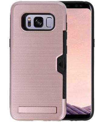Roze Tough Armor Kaarthouder Stand Hoesje voor Samsung Galaxy S8