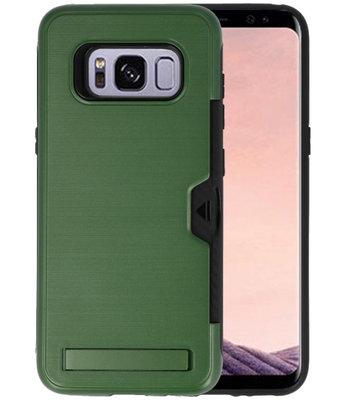 Donker Groen Tough Armor Kaarthouder Stand Hoesje voor Samsung Galaxy S8