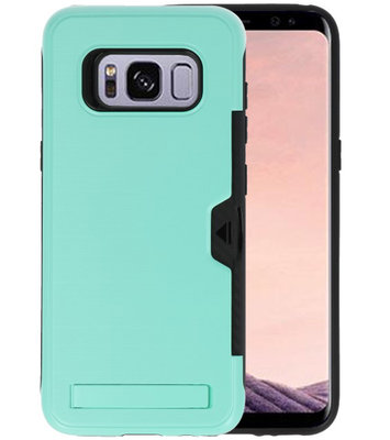 Turquoise Tough Armor Kaarthouder Stand Hoesje voor Samsung Galaxy S8