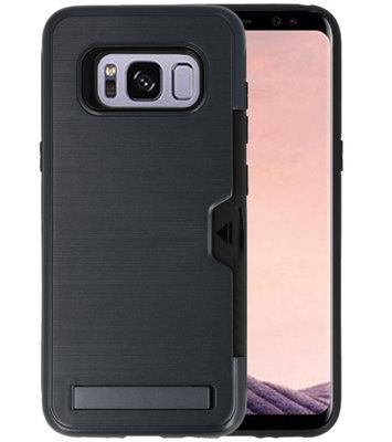 Zwart Tough Armor Kaarthouder Stand Hoesje voor Samsung Galaxy S8