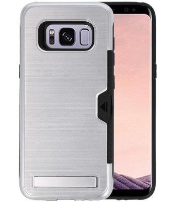 Zilver Tough Armor Kaarthouder Stand Hoesje voor Samsung Galaxy S8