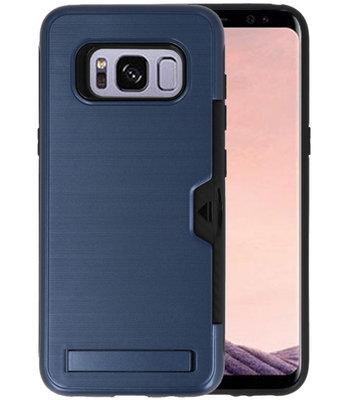 Navy Tough Armor Kaarthouder Stand Hoesje voor Samsung Galaxy S8